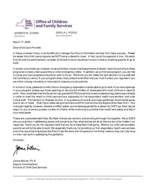 OFCS - Letter to Child Care Provider
