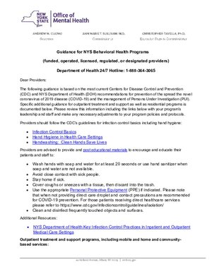 OFCS - Guidance for NYS Behavioral Health Programs