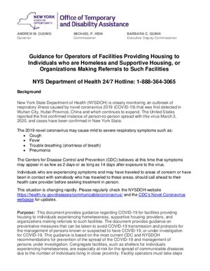OFCS - Guidance for Shelter and Supportive Housing